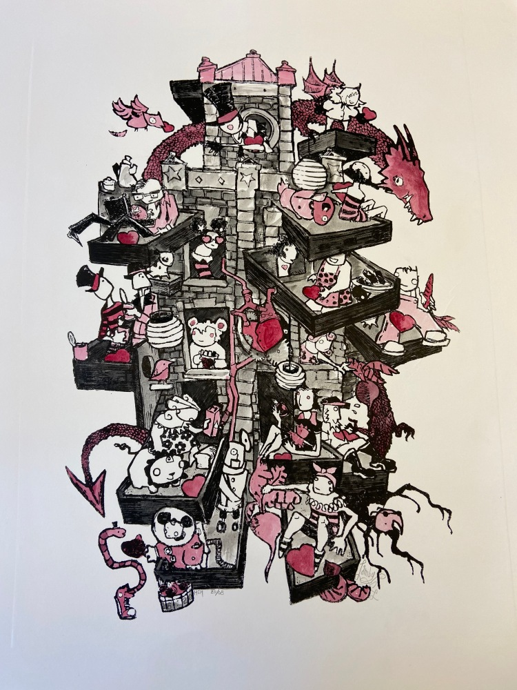 Untitled lithograph print, hand colored by Sybil Lamb, a house-like structure surrounded by a whimsical red dragon plays host to a dozen people who share food, hearts, and seem engaged in community